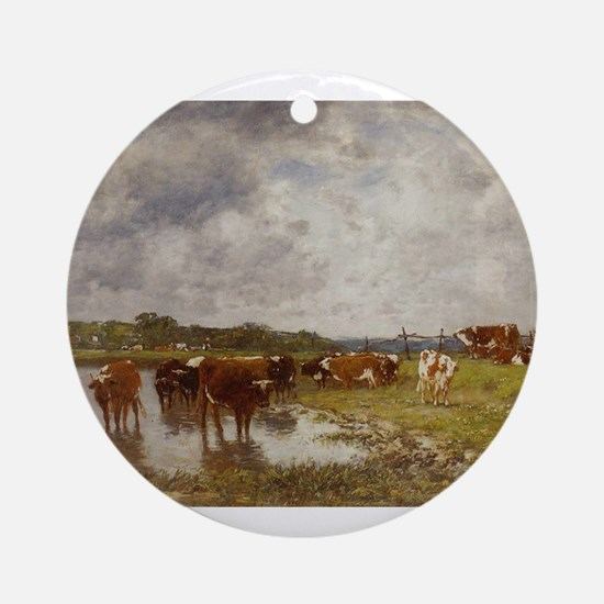 Eugene Boudin - Cows in a Meadow on Round Ornament