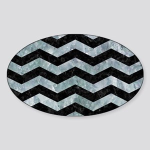 CHEVRON3 BLACK MARBLE & ICE CRYSTAL Sticker (Oval)
