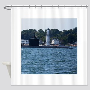 Boat & Lighthouse Homecoming Shower Curtain