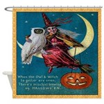 Vintage Halloween Witch Moon Owl Shower Curtain