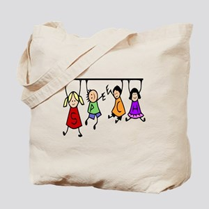 Cute Kids Cartoon Holding Speech Words Tote Bag