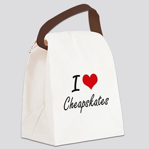 I love Cheapskates Artistic Desig Canvas Lunch Bag