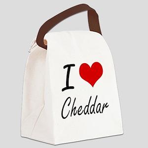 I love Cheddar Artistic Design Canvas Lunch Bag