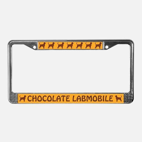 Chocolate Labmobile License Plate Frame
