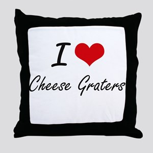 I love Cheese Graters Artistic Design Throw Pillow