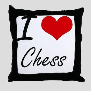 I love Chess Artistic Design Throw Pillow