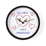 No Child Left Unhugged Wall Clock