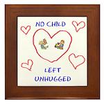 No Child Left Unhugged Framed Tile