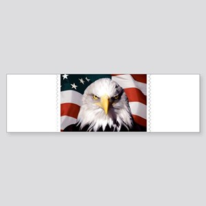American Bald Eagle with Flag Bumper Sticker