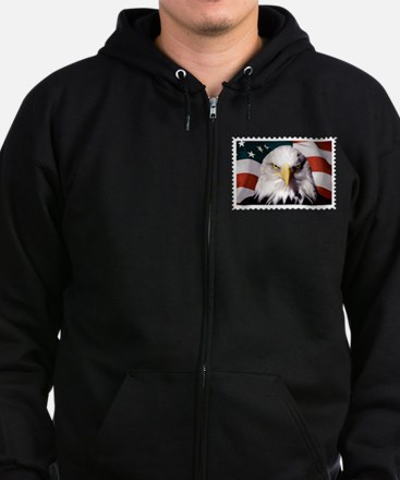 American Bald Eagle with Flag Zip Hoodie (dark)