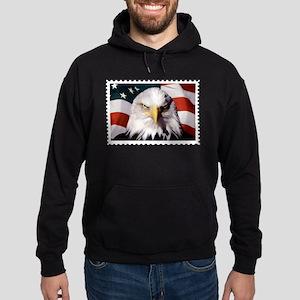 American Bald Eagle with Flag Hoodie (dark)