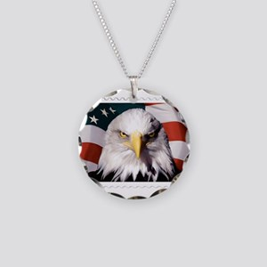American Bald Eagle with Fla Necklace Circle Charm