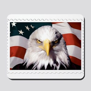 American Bald Eagle with Flag Mousepad