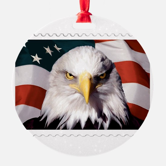 American Bald Eagle with Flag Ornament