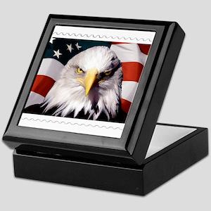 American Bald Eagle with Flag Keepsake Box