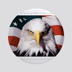 American Bald Eagle with Flag Round Ornament