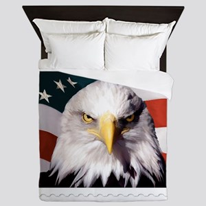 American Bald Eagle with Flag Queen Duvet