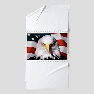 American Bald Eagle with Flag Beach Towel