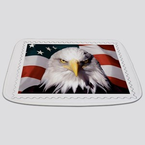 American Bald Eagle with Flag Bathmat