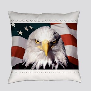 American Bald Eagle with Flag Everyday Pillow