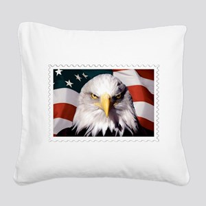 American Bald Eagle with Flag Square Canvas Pillow