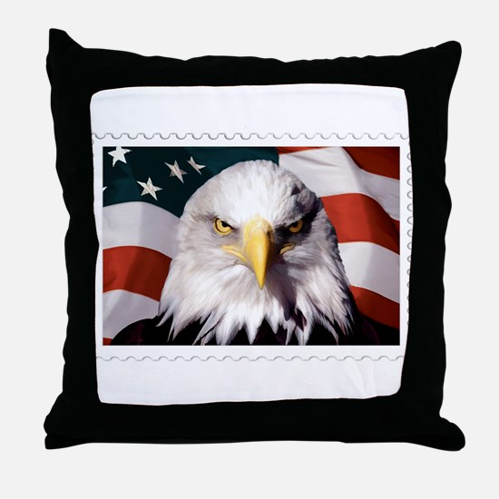 American Bald Eagle with Flag Throw Pillow