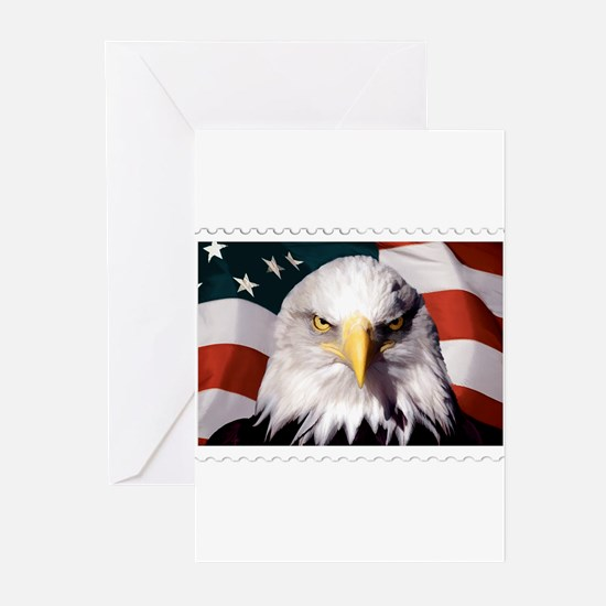 American Bald Eagle with Flag Greeting Cards