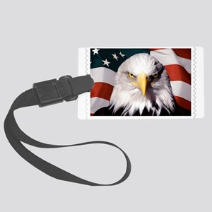 American Bald Eagle with Flag Large Luggage Tag