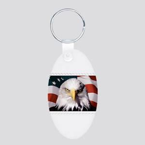American Bald Eagle with Flag Keychains