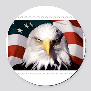 American Bald Eagle with Flag Round Car Magnet