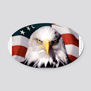 American Bald Eagle with Flag Oval Car Magnet