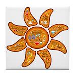 Radiant sun, I AM, awake Tile Coaster