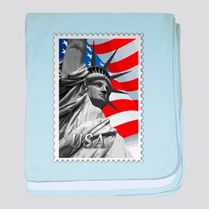 GRAPHIC STATUE OF LIBERTY WITH FLAG S baby blanket