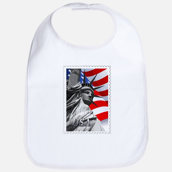 GRAPHIC STATUE OF LIBERTY WITH FLAG STAMP text Bib