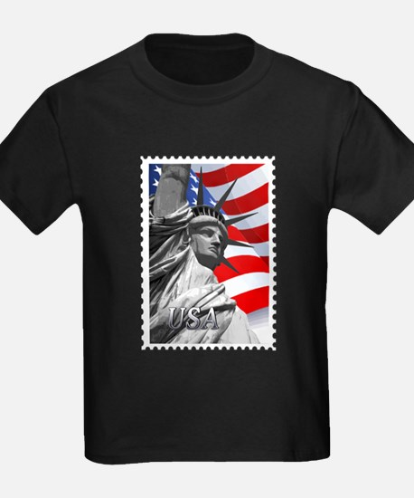 GRAPHIC STATUE OF LIBERTY WITH FLAG STAMP T-Shirt