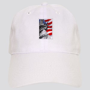 GRAPHIC STATUE OF LIBERTY WITH FLAG STAMP text Cap