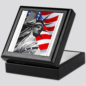 GRAPHIC STATUE OF LIBERTY WITH FLAG S Keepsake Box