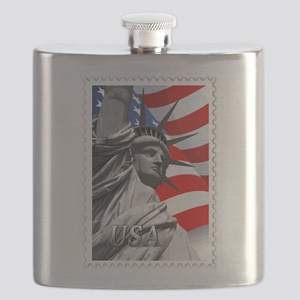 GRAPHIC STATUE OF LIBERTY WITH FLAG STAMP te Flask