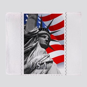 GRAPHIC STATUE OF LIBERTY WITH FLAG Throw Blanket