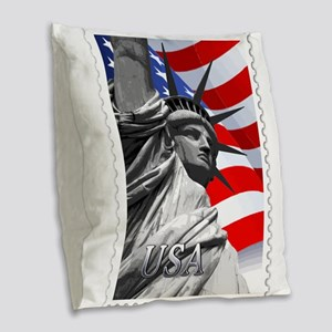 GRAPHIC STATUE OF LIBERTY WITH Burlap Throw Pillow