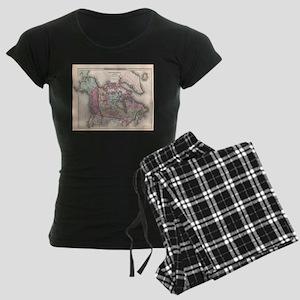 Vintage Map of Canada (1857) Women's Dark Pajamas
