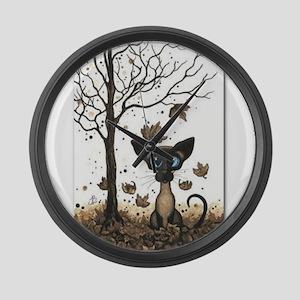 Fall Feline Large Wall Clock