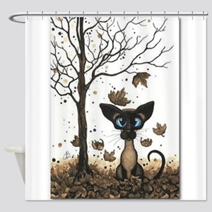 Fall Feline Shower Curtain