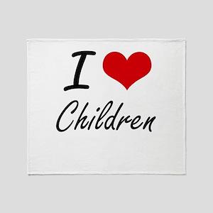I love Children Artistic Design Throw Blanket