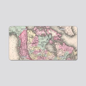 Vintage Map of Canada (1857 Aluminum License Plate