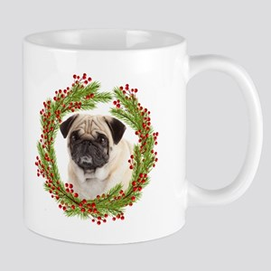 Pug Christmas Wreath with Holly and Berries Mugs