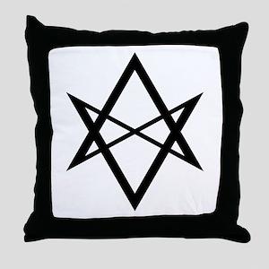 Black Unicursal Hexagram Throw Pillow