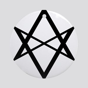 Black Unicursal Hexagram Ornament (Round)