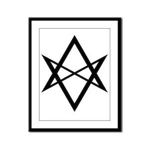 Black Unicursal Hexagram Framed Panel Print