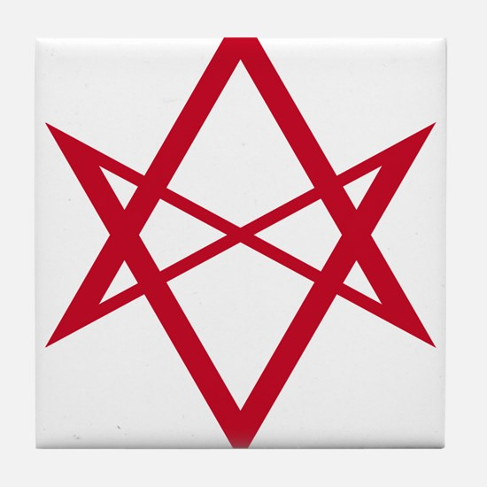 Red Unicursal Hexagram Tile Coaster
